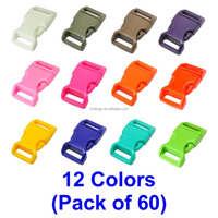 "LIHAO 60 PCS 12 Colors 5/8"" Plastic Quick Side Release Buckle High Quality plastic buckle for webbing and backpacks"