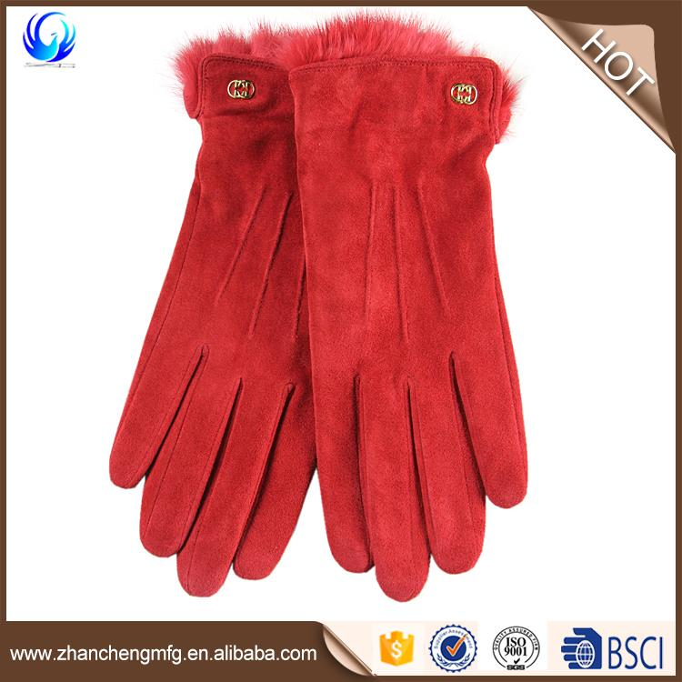 Women Lady's Lambskin Leather Sheep Suede Black Wool lined Gloves with lether belt
