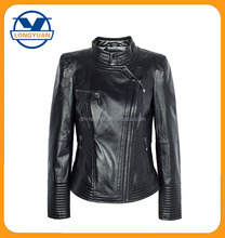 motorcycle round neck metal side zipper high quality cheap unique woman leather jacket