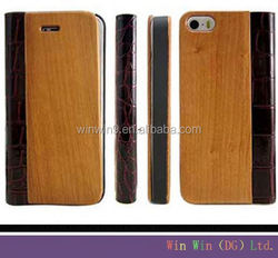 Hot products 2015 new wood bamboo leather wallet wallet leather case cover for iphone 6