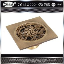 Square Antique Brass shower floor drain cover Water Drain Apparatus Washer Waste Drain