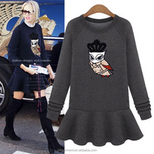 European Style High Quality Latest Dress Designs Fashion Casual Fitting Fleece Long Sleeve Girl Dress