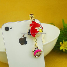 acrylic birds charm chain charm dust plug charm for cellphone jewelry findings
