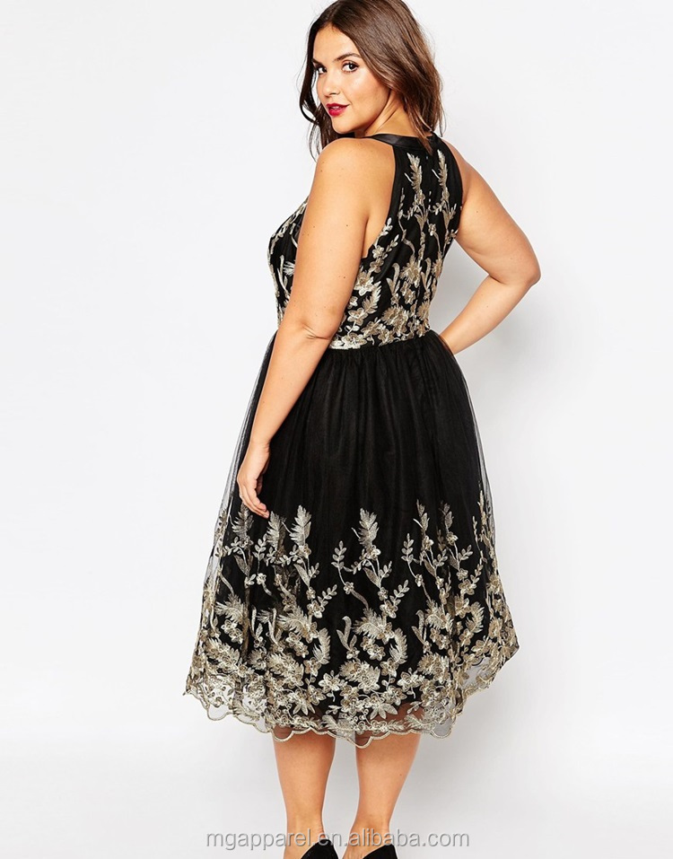 Wholesale Party Dresses For Fat Girls Plus Size Embroidered Lace