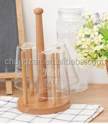 Drain beech wood cup holder cup rack zakka creative Nordic household goods