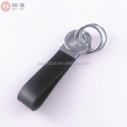 Black Leather Hanging Waist Belt Strap Double Loops Keyring Keychain Key Chain Ring Key Fob