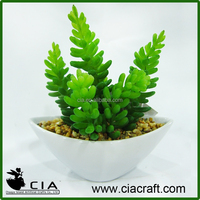 Mini Artificial White Pottery Potted Succulent for Office Table Decor