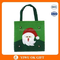 Santa Claus applique on handmade christmas bags, christmas reusable bag, christmas lucky bags