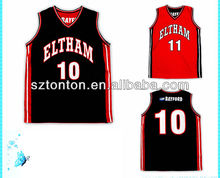 cheap custom sublimated black and red reversible basketball jersey