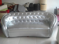 Silver PU leather oval sofa (ND2020)