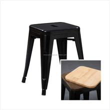 Black stool with wood cushion or pu cushion for dining room