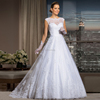 2015 new arrival elegant scoop sleeveless Wedding dress with Lace appliques Ball Gown see through back vestido de noivas