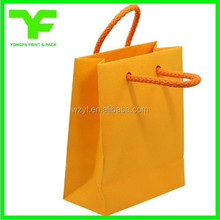 Yellow blank cheap wholesale paper shopping bag