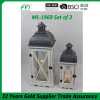 White wood with grey color metal top and handle wholesaler lantern ML-1969 set of 2
