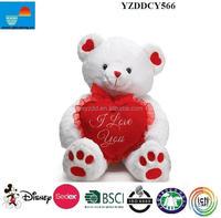 Plush Valentine Bear Toy/Plush Bear For Valentine's Day/White teddy bear with Heart