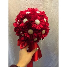 Wedding decorative nature touch artificial red sunflower bouquet