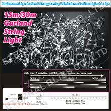 Customized 15m white meteor shower christmas string lights
