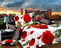 reactive printing 3d bedding sets red romantic rose bed cover set
