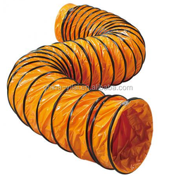orange color pvc tarpaulin flexible duct for air movers, good quality and reasonable price flexible duct for ventilating