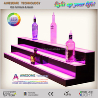 led light bottle holder bar shelf / bar liquor bottle stand / led acrylic wine bottle display rack