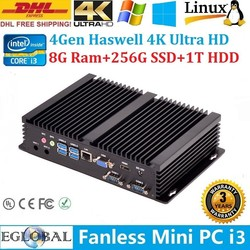 Eglobal Mini PC Small Computer 8G Ram 256G SSD 1T HDD Intel Core i3 4010U HTPC 2*COM+HDMI+VGA Wifi+Bluetooth DHL Free Shipping