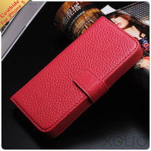 Hot sale cow leather wallet case for iphone5 with card holder and stand