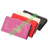 Laser Engraving Butterfly Pattern Wallet Style Flip Stand Leather Case for Samsung S5