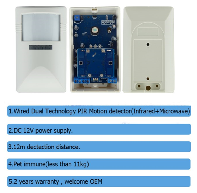 Microwave Pive Infrared Motion Detector With Perfect Streamline Surface Design