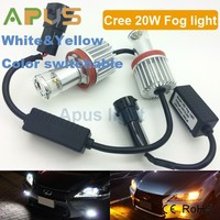 CR.EE 20W dual Color Switchable White yellow H11 car led light bulbs