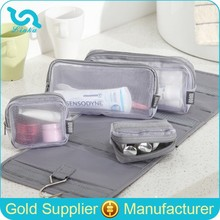 High Quality Travel Foldable Wash Toiletry Bag Travel Wash Bag With Detachable Mesh Compartments