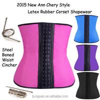 body shaping slimming corset, Steel bone Colorful 3 hook waist training, rubber waist training body shaper