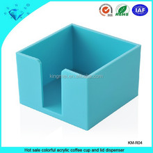 Hot sale colorful acrylic coffee cup and lid dispenser