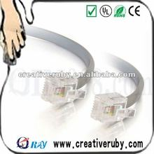 3m RJ11 6P4C Straight Modular Cable,28 AWG silver satin wire