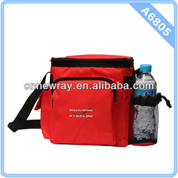 Zippered Insulated Tote Cooler with Drink Bottle Red Insulated Cooler Bag Fabric