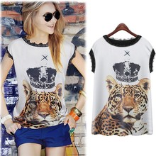 Factory Direct Wholesale T-Shirt New Arrivals Fashion Tops Short Sleeve Tiger Printing Loose T Shirt SLT-1504045