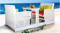 Hotsale Outdoor Restaurant White Rattan Wicker Coffee Shop Face to Face Glider Swing