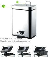 recycling waste can 1 sections mirror finish with double inner bins