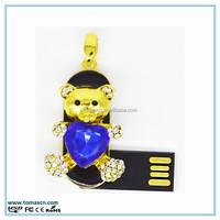 Free shipping Jewelry bear USB flash memory , necklace diamond pendrive 8G 16G 32G