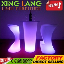 factory direct sale the newest design clear PE plastic RGB color change waterproof LED high tech table with flash light