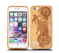 Super quality real wood phone case with motorbike pattern back cover