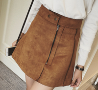 Z86178A autumn fashion pretty Suede fabric SOLID sexy lady skirts