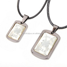 trendy cheap stainless still engraved clover and words couple necklace