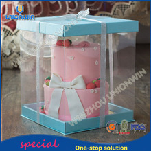 Wholesale exquisite security eco pvc birthday cake package box with silver riband