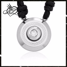 Bezel-Set Greek Key Circle w/ CZ Stainless Steel Pendant Necklace