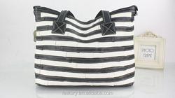 hot black and white reusable stripe shopping bag