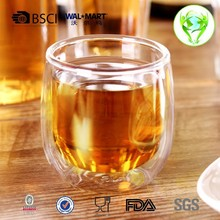 factory good price Borosilicate hand made double wall glass tea cup and coffee mug