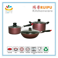 china 6pcs non-stick berndes cookware made in japan/cook ware set