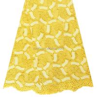 Beauty yellow guipure fabric wholesale in market dubai bangkok lace fabric / Popular water dissolved embroidery fabric