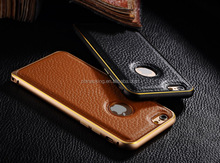 Metal Bumper Frame with Leather Back Case Skin For iPhone 6 / 6 Plus
