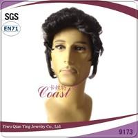 Black sythetic rock star mens Elvis Aron Presley hair party wig